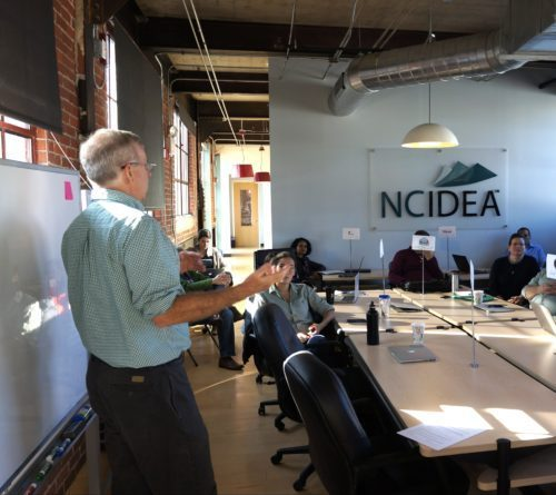 NC IDEA's John Austin leading NC IDEA LABS session, a program for entrepreneurs trying to turn their idea into a business.